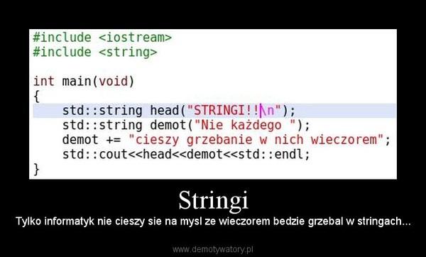 Stringi – Tylko informatyk nie cieszy sie na mysl ze wieczorem bedzie grzebal w stringach...