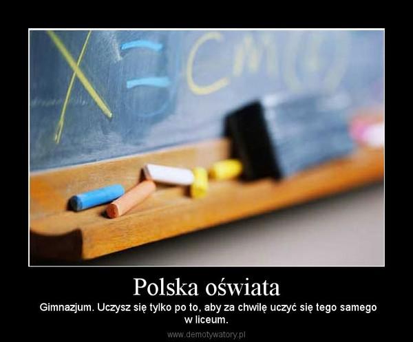 Polska oświata –  Gimnazjum. Uczysz się tylko po to, aby za chwilę uczyć się tego samegow liceum.
