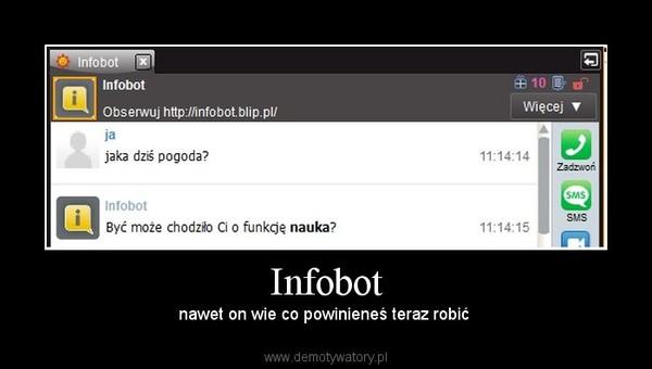 Infobot – nawet on wie co powinieneś teraz robić
