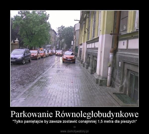 """Parkowanie Równoległobudynkowe – """"Tylko pamiętajcie by zawsze zostawić conajmniej 1,5 metra dla pieszych"""".."""