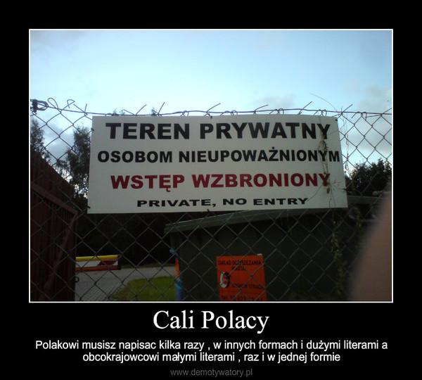Cali Polacy – Polakowi musisz napisac kilka razy , w innych formach i dużymi literami a obcokrajowcowi małymi lite