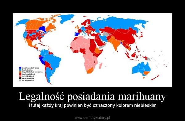 Legalność posiadania marihuany – i tutaj każdy kraj powinien być oznaczony kolorem niebieskim