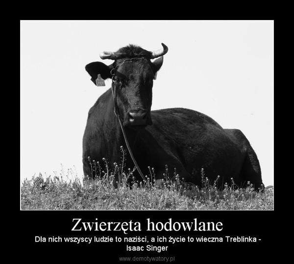 Zwierzęta hodowlane –  Dla nich wszyscy ludzie to naziści, a ich życie to wieczna Treblinka -Isaac Singer