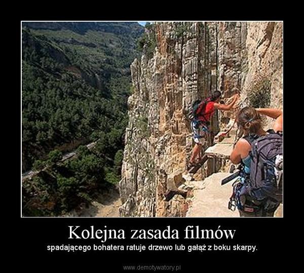Kolejna zasada filmów – spadającego bohatera ratuje drzewo lub gałąź z boku skarpy.