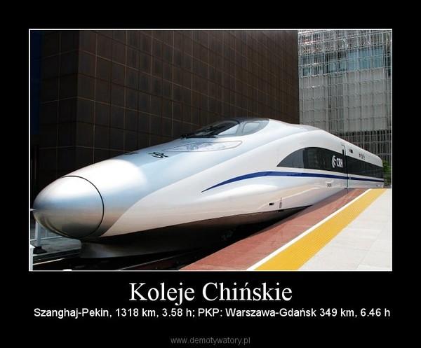 Koleje Chińskie – Szanghaj-Pekin, 1318 km, 3.58 h; PKP: Warszawa-Gdańsk 349 km, 6.46 h
