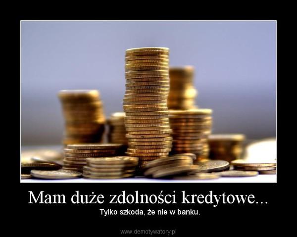 Mam duże zdolności kredytowe... – Tylko szkoda, że nie w banku.