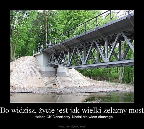 Bo widzisz, życie jest jak wielki żelazny most – - Haber, CK Dezerterzy. Nadal nie wiem dlaczego