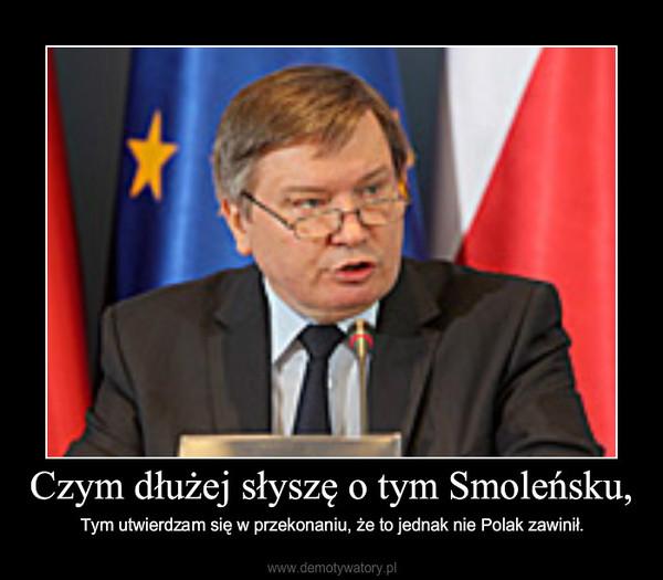 Czym dłużej słyszę o tym Smoleńsku, – Tym utwierdzam się w przekonaniu, że to jednak nie Polak zawinił.