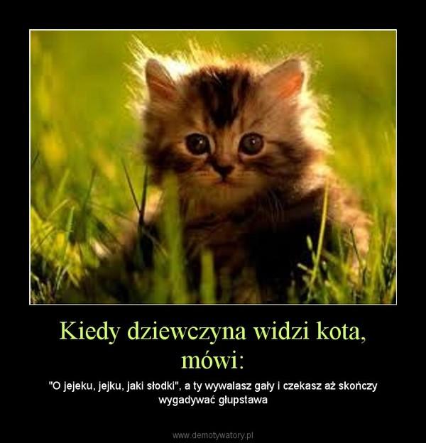 """Kiedy dziewczyna widzi kota, mówi: – """"O jejeku, jejku, jaki słodki"""", a ty wywalasz gały i czekasz aż skończy wygadywać głupstawa"""