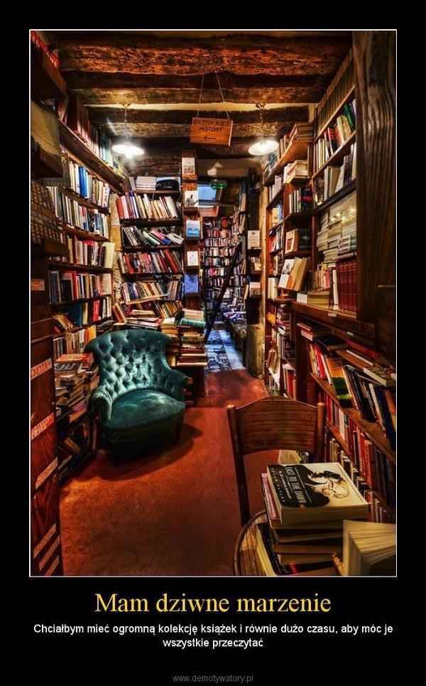 Mam dziwne marzenie – Chciałbym mieć ogromną kolekcję książek i równie dużo czasu, aby móc je wszystkie przeczytać