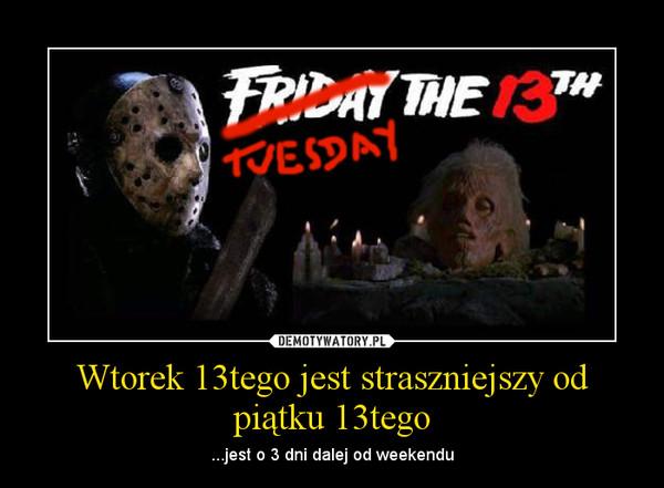 Wtorek 13tego jest straszniejszy od piątku 13tego – ...jest o 3 dni dalej od weekendu