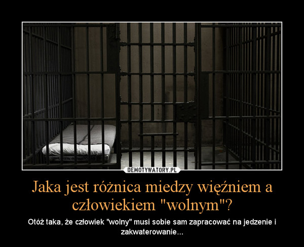 """Jaka jest różnica miedzy więźniem a człowiekiem """"wolnym""""? – Otóż taka, że człowiek """"wolny"""" musi sobie sam zapracować na jedzenie i zakwaterowanie..."""