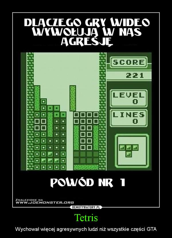 Tetris – Wychował więcej agresywnych ludzi niż wszystkie części GTA