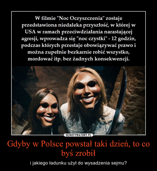 Gdyby w Polsce powstał taki dzień, to co byś zrobił – i jakiego ładunku użył do wysadzenia sejmu?