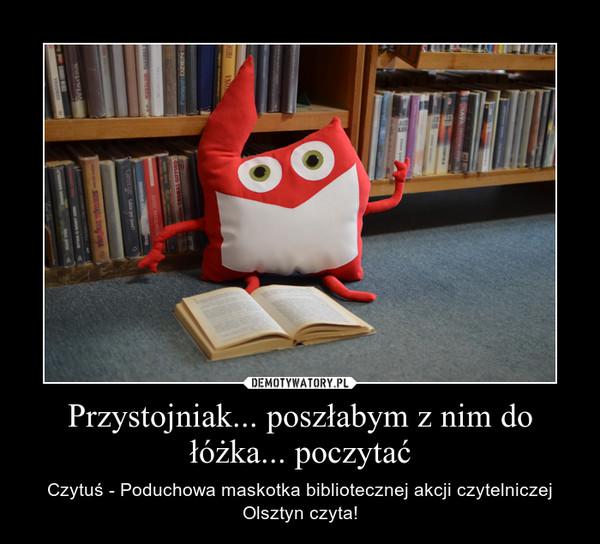 Przystojniak... poszłabym z nim do łóżka... poczytać – Czytuś - Poduchowa maskotka bibliotecznej akcji czytelniczej Olsztyn czyta!