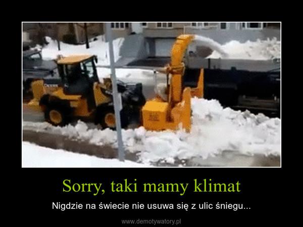Sorry, taki mamy klimat – Nigdzie na świecie nie usuwa się z ulic śniegu...