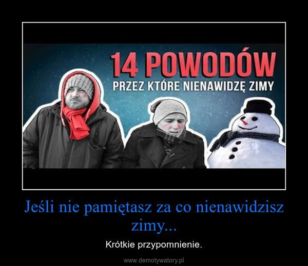 Jeśli nie pamiętasz za co nienawidzisz zimy... – Krótkie przypomnienie.