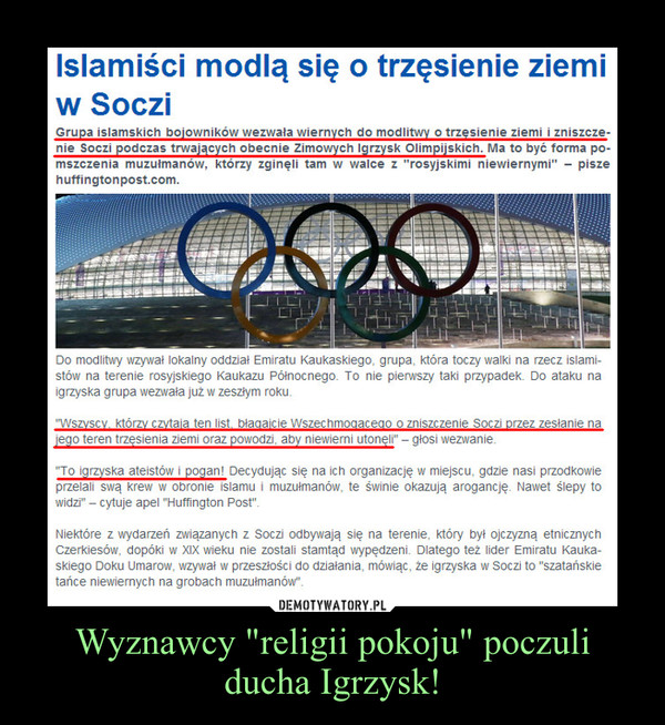 """Wyznawcy """"religii pokoju"""" poczuli ducha Igrzysk! –"""