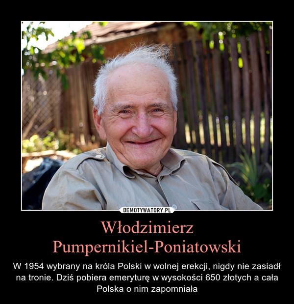 Włodzimierz Pumpernikiel-Poniatowski – W 1954 wybrany na króla Polski w wolnej erekcji, nigdy nie zasiadł na tronie. Dziś pobiera emeryturę w wysokości 650 złotych a cała Polska o nim zapomniała