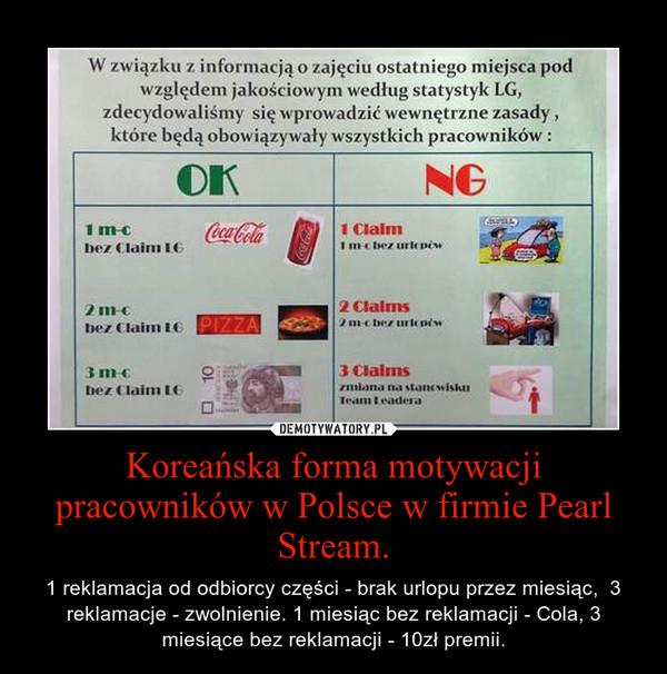 Koreańska forma motywacji pracowników w Polsce w firmie Pearl Stream. – 1 reklamacja od odbiorcy części - brak urlopu przez miesiąc,  3 reklamacje - zwolnienie. 1 miesiąc bez reklamacji - Cola, 3 miesiące bez reklamacji - 10zł premii.
