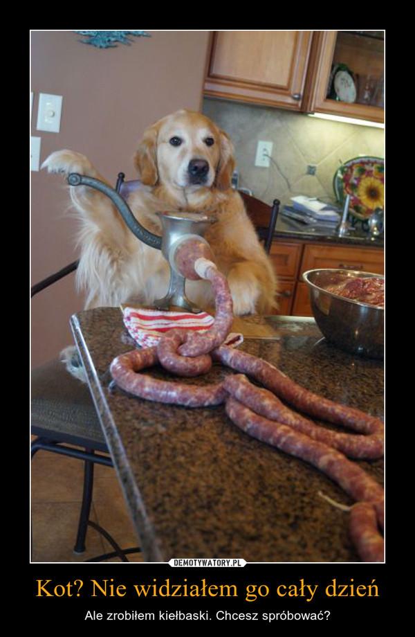 Kot? Nie widziałem go cały dzień – Ale zrobiłem kiełbaski. Chcesz spróbować?