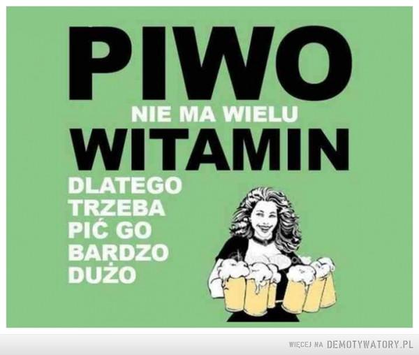 Piwo nie ma wielu witamin –