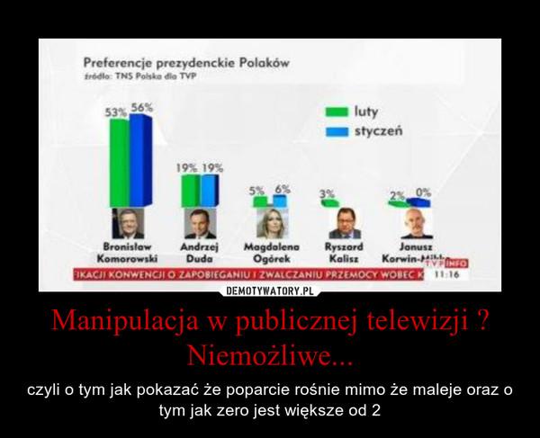 Manipulacja w publicznej telewizji ?Niemożliwe... – czyli o tym jak pokazać że poparcie rośnie mimo że maleje oraz o tym jak zero jest większe od 2