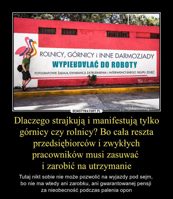 Dlaczego strajkują i manifestują tylko górnicy czy rolnicy? Bo cała reszta przedsiębiorców i zwykłych pracowników musi zasuwać i zarobić na utrzymanie – Tutaj nikt sobie nie może pozwolić na wyjazdy pod sejm, bo nie ma wtedy ani zarobku, ani gwarantowanej pensji za nieobecność podczas palenia opon