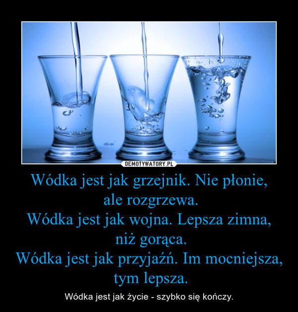Wódka jest jak grzejnik. Nie płonie, ale rozgrzewa.Wódka jest jak wojna. Lepsza zimna, niż gorąca.Wódka jest jak przyjaźń. Im mocniejsza, tym lepsza. – Wódka jest jak życie - szybko się kończy.