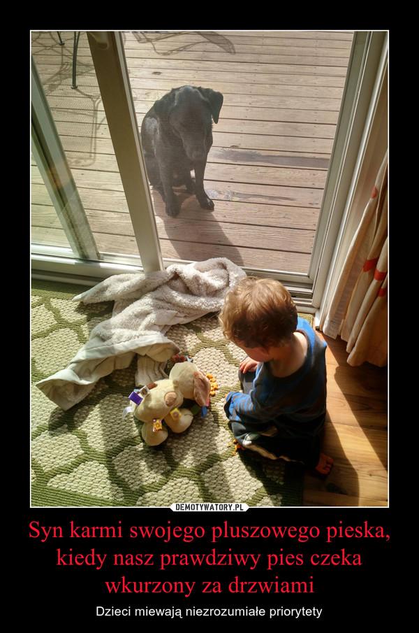 Syn karmi swojego pluszowego pieska, kiedy nasz prawdziwy pies czeka wkurzony za drzwiami – Dzieci miewają niezrozumiałe priorytety