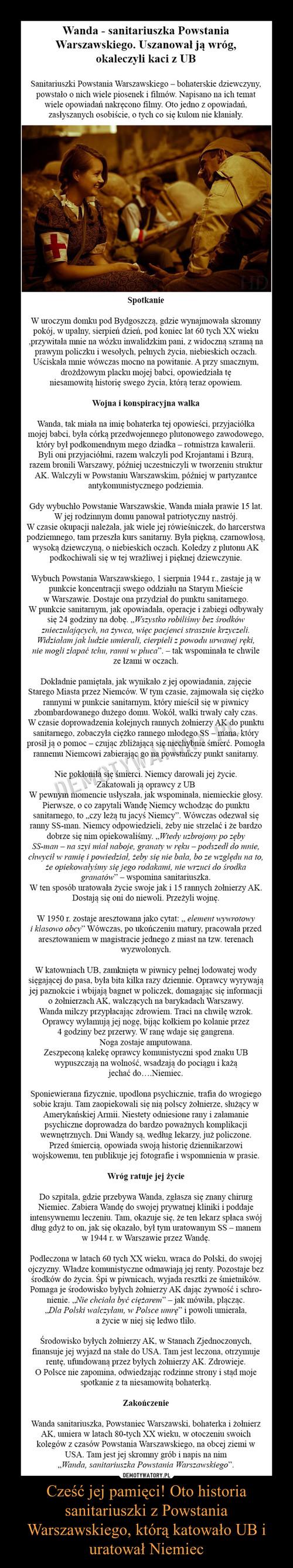 Cześć jej pamięci! Oto historia sanitariuszki z Powstania Warszawskiego, którą katowało UB i uratował Niemiec