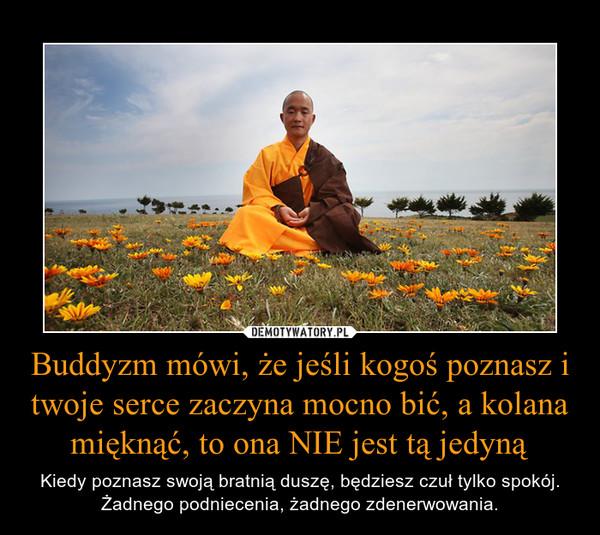 Buddyzm mówi, że jeśli kogoś poznasz i twoje serce zaczyna mocno bić, a kolana mięknąć, to ona NIE jest tą jedyną – Kiedy poznasz swoją bratnią duszę, będziesz czuł tylko spokój. Żadnego podniecenia, żadnego zdenerwowania.