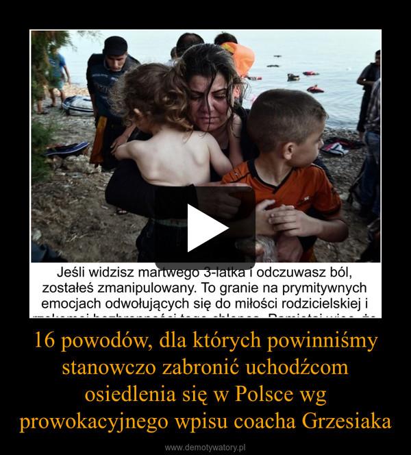 16 powodów, dla których powinniśmy stanowczo zabronić uchodźcom osiedlenia się w Polsce wg prowokacyjnego wpisu coacha Grzesiaka –