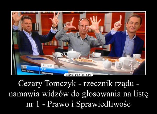 Cezary Tomczyk - rzecznik rządu - namawia widzów do głosowania na listę nr 1 - Prawo i Sprawiedliwość –
