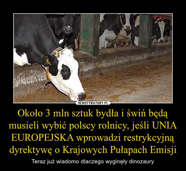 Około 3 mln sztuk bydła i świń będą musieli wybić polscy rolnicy, jeśli UNIA EUROPEJSKA wprowadzi restrykcyjną dyrektywę o Krajowych Pułapach Emisji – Teraz już wiadomo dlaczego wyginęły dinozaury