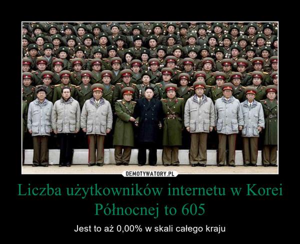 Liczba użytkowników internetu w Korei Północnej to 605 – Jest to aż 0,00% w skali całego kraju