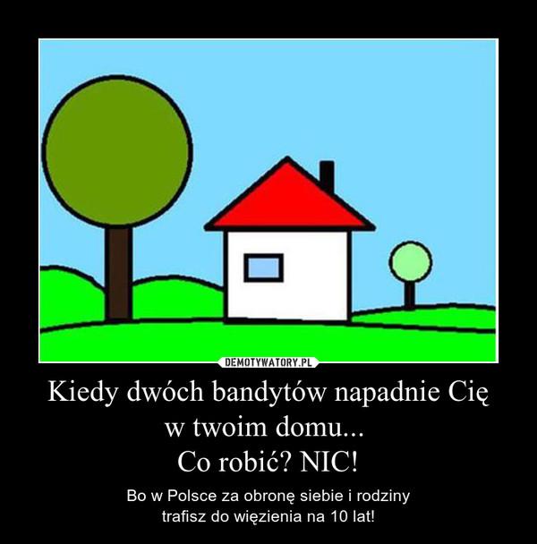 Kiedy dwóch bandytów napadnie Cię w twoim domu...  Co robić? NIC! – Bo w Polsce za obronę siebie i rodziny trafisz do więzienia na 10 lat!