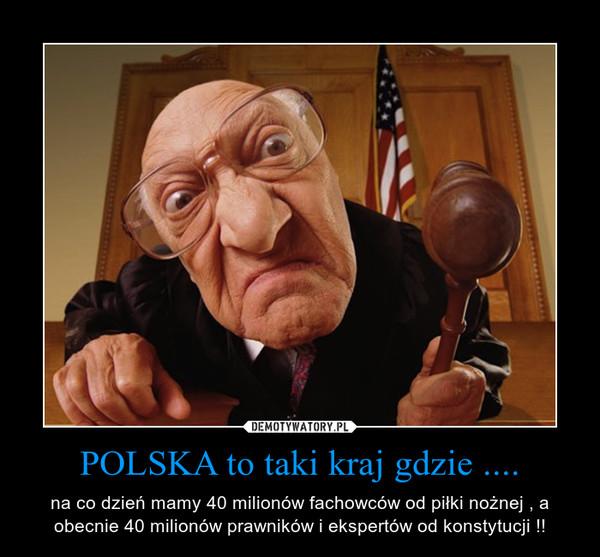 POLSKA to taki kraj gdzie .... – na co dzień mamy 40 milionów fachowców od piłki nożnej , a obecnie 40 milionów prawników i ekspertów od konstytucji !!