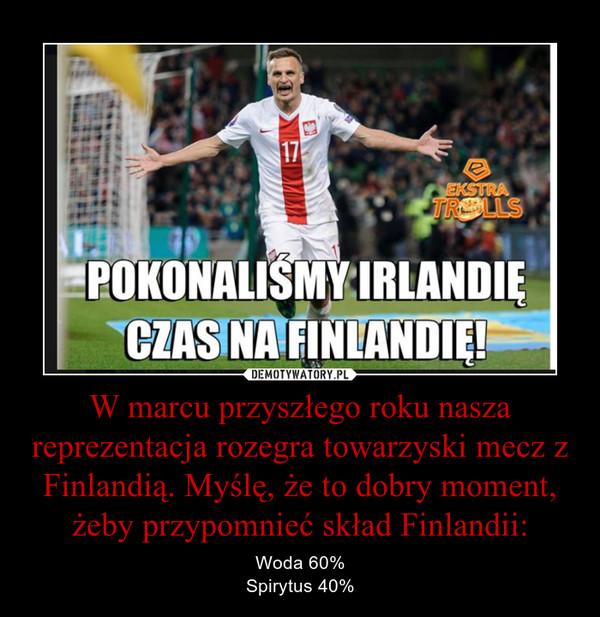 W marcu przyszłego roku nasza reprezentacja rozegra towarzyski mecz z Finlandią. Myślę, że to dobry moment, żeby przypomnieć skład Finlandii: – Woda 60%Spirytus 40%