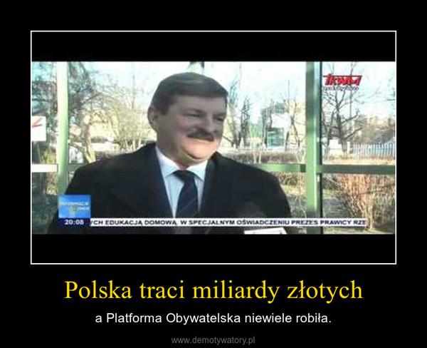 Polska traci miliardy złotych – a Platforma Obywatelska niewiele robiła.