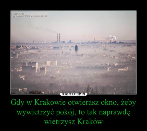 Gdy w Krakowie otwierasz okno, żeby wywietrzyć pokój, to tak naprawdę wietrzysz Kraków –