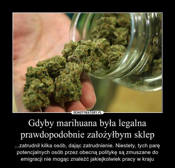 Gdyby marihuana była legalna prawdopodobnie założyłbym sklep – ...zatrudnił kilka osób, dając zatrudnienie. Niestety, tych parę potencjalnych osób przez obecną politykę są zmuszane do emigracji nie mogąc znaleźć jakiejkolwiek pracy w kraju