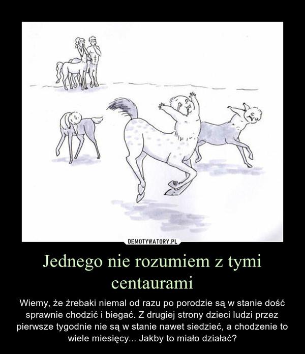 Jednego nie rozumiem z tymi centaurami – Wiemy, że źrebaki niemal od razu po porodzie są w stanie dość sprawnie chodzić i biegać. Z drugiej strony dzieci ludzi przez pierwsze tygodnie nie są w stanie nawet siedzieć, a chodzenie to wiele miesięcy... Jakby to miało działać?