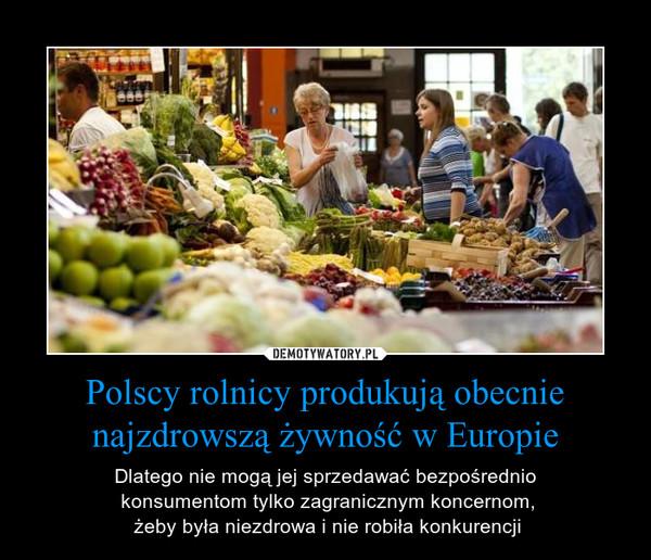 Polscy rolnicy produkują obecnie najzdrowszą żywność w Europie – Dlatego nie mogą jej sprzedawać bezpośrednio konsumentom tylko zagranicznym koncernom, żeby była niezdrowa i nie robiła konkurencji