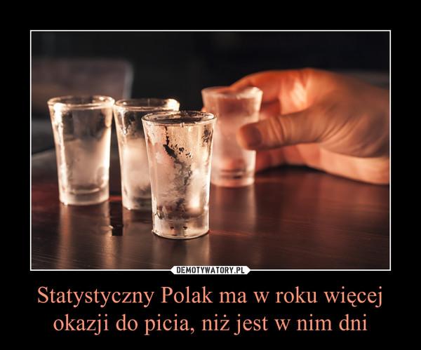 Statystyczny Polak ma w roku więcej okazji do picia, niż jest w nim dni –