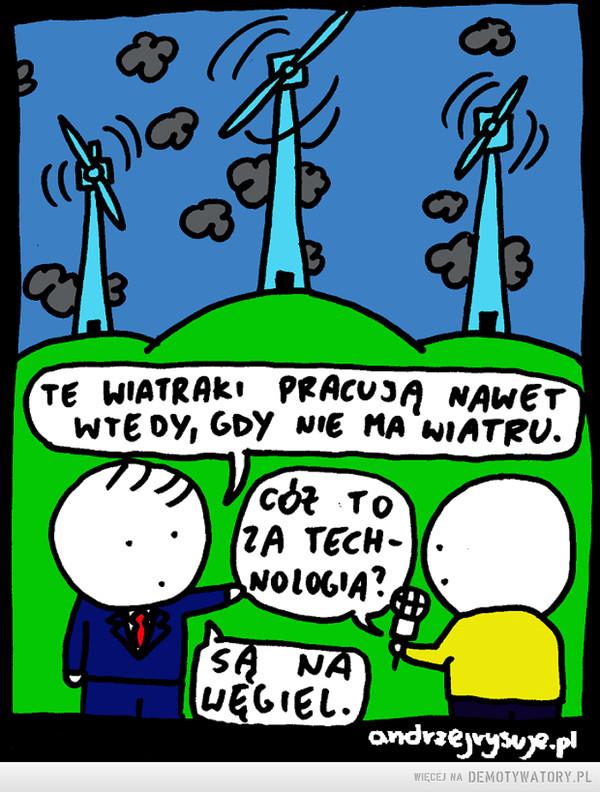 Energia wiatorwa –  Te wiatraki pracują nawet wtedy, gdy nie ma wiatru.Cóż to za technologia?Są na węgiel
