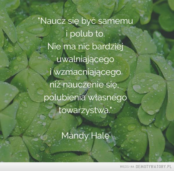 """Własne towarzystwo –  """"Naucz się być samemui polub to.Nie ma nic bardziejuwalniającegoi wzmacniającegoniż nauczenie się,polubienia własnegotowarzystwa.""""Mandy Hale"""