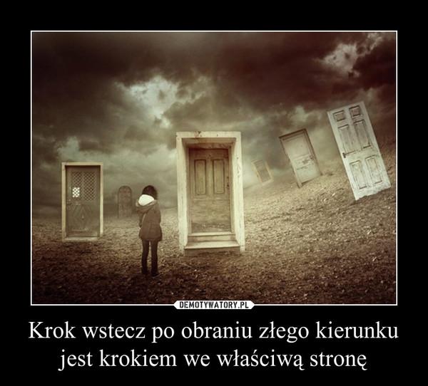 Krok wstecz po obraniu złego kierunku jest krokiem we właściwą stronę –