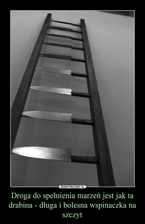 Droga do spełnienia marzeń jest jak ta drabina - długa i bolesna wspinaczka na szczyt
