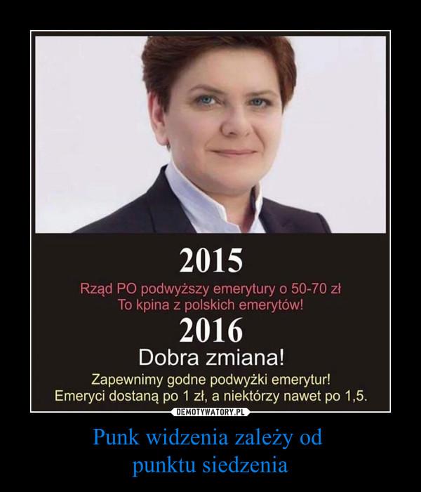 Punk widzenia zależy od punktu siedzenia –  2015Rząd PO podwyższy emerytury o 50-70 złTo kpina & polskich emerytów!2016Dobra zmiana!Zapewnimy godne podwyżki emerytur!Emeryci dostaną po 1 zł, a niektórzy nawet po 1,5.